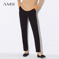 【到手价113元】Amii极简职业直筒休闲裤子女士2018冬装新款知性通勤百搭烟管长裤