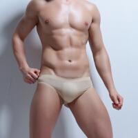 冰丝无痕内裤男士三角裤青年性感内裤夏季一片式透气裤头大码