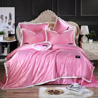 夏季天丝四件套冰丝贡缎凉被套纺真丝绸床单纯色1.8/2.0m床上用品 粉红色 床单款-粉红