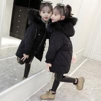 儿童棉衣女2018新款韩版大毛领女童纯色冬季中大童外套潮衣