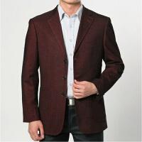 春季中年男士休闲西服外套薄款商务休闲中老年爸爸装西装上衣大码 枣红色