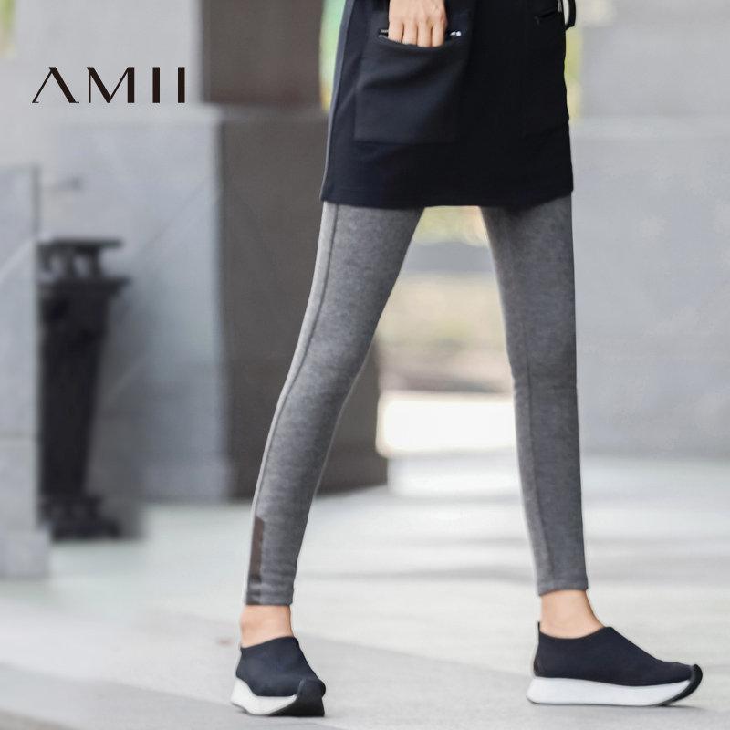 Amii[极简主义]动感百搭 印花加绒打底裤 2017冬装新弹力修身保暖预售 1月3日 发货