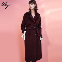 Lily2017冬新款女装商务通勤纯色长款风衣式毛呢大衣117440F1525