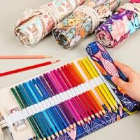 柏伦斯24支48支36支72支装素描铅笔笔帘彩铅笔袋帆布笔帘彩色铅笔帘帆布笔袋初学者铅笔笔包工具个性笔袋女