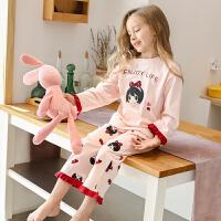 儿童睡衣女家居服套装宝宝薄款小女孩大童长袖亲子