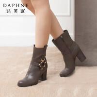 达芙妮女靴冬季韩版潮时尚靴子粗跟高跟鞋金属皮带装饰女短靴