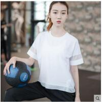 圆领纯色梭织薄款网眼拼接运动短袖宽松跑步T恤瑜伽服速干透气健身上衣女
