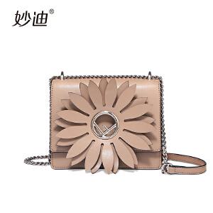 妙迪夏季小包包女2017新款韩版百搭迷手提包链条斜挎包花朵小方包