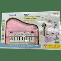 6岁儿童电子琴玩具宝宝早教多功能钢琴带麦克风音乐玩具女孩 欢乐钢琴家