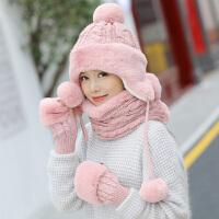 帽子女冬季韩版学生毛线帽加厚护耳冬帽可爱帽子围脖手套保暖套装
