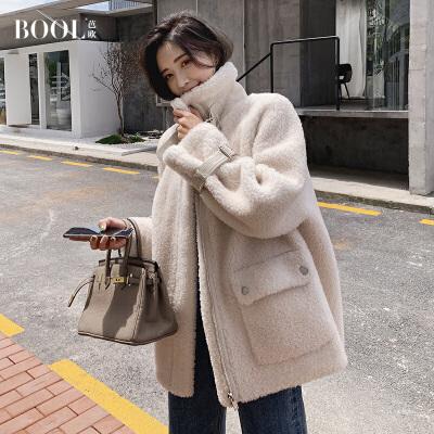 芭欧2019款海宁反季羊剪绒大衣女士复合皮毛一体羊羔毛皮草外套 撞色典范,优雅乖巧风