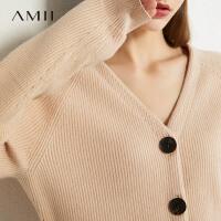 Amii洋气百搭V领短款毛针织衫2021春季款显瘦外搭薄款开衫上衣女