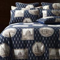 家纺磨毛四件套床单式床上全棉秋冬加厚简约欧美式深色样板间别墅被套