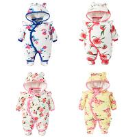 婴儿连体衣服男宝宝新生儿3个月秋冬季冬装6厚外出抱衣外套装