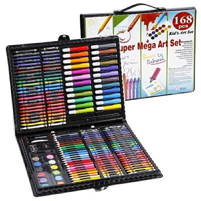 168件小学生画画工具组合 学习文具礼盒绘画水彩笔套装 美术奖品 红色 单件价!