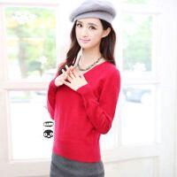 女士v领短款羊绒衫针织衫 打底衫羊绒衫修身显瘦纯色保暖套头毛衣