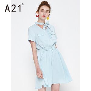 以纯线上品牌a21 夏季新款纯色短袖连衣裙女 时尚气质淑女蝴蝶结领口雪纺连衣裙