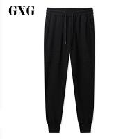 GXG男装 夏季商场同款休闲运动裤潮流黑色长裤男#182202207