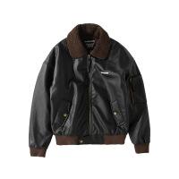 原创男装冬季新款皮衣美式复古飞行夹克皮衣羊羔毛加厚外套 黑色 X