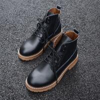 秋冬马丁靴女英伦百搭学生粗跟裸靴圆头系带靴子骑士靴机车靴短靴