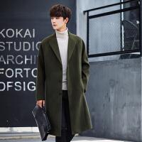 秋季毛呢大衣男中长款韩版青年修身男士冬季呢子外套帅气英伦风衣
