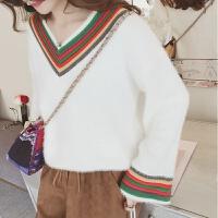 低领针织衫女秋冬季韩版宽松打底衫短款加厚上衣长袖套头毛绒毛衣