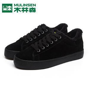木林森女鞋冬季系带保暖棉鞋平底学生鞋韩版时尚板鞋子