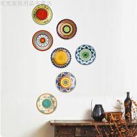 个性彩绘陶瓷盘子挂盘装饰盘墙饰摆件欧美式客厅餐厅创意背景墙装饰品盘挂摆盘壁装