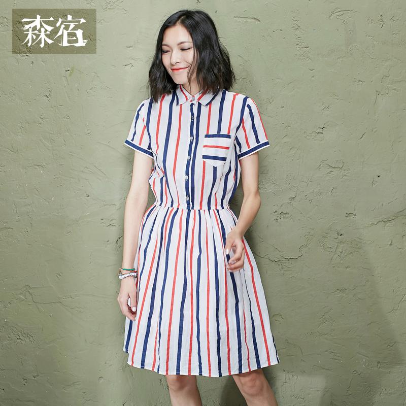 森宿夏装女修身文艺范撞色条纹翻领纯棉短袖衬衫连衣裙
