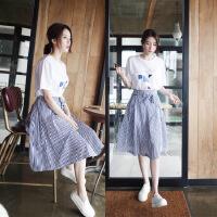 2018夏装韩版女士两件套连衣裙中长款套装裙高腰淑女条纹蝴蝶结A