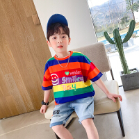 【2件2折】左西男童短袖T恤2021新款夏装儿童中大童洋气拼接韩版上衣夏
