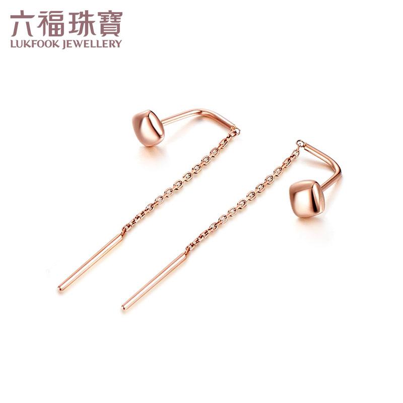 六福珠宝18K玫瑰金耳钉几何系列菱形彩金耳钉K金耳线定价  L18TBKE0044R支持使用礼品卡