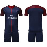 17-18巴黎圣日耳曼球衣足球服运动套装 短袖训练服队服10号内马尔10号伊布11号迪玛利亚 巴黎主场