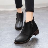 O'SHELL欧希尔新品059-C-10欧美粗跟女士短靴