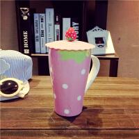 陶瓷杯带盖办公室大号水杯简约可爱女学生文艺小清新夏季马克杯个性水杯