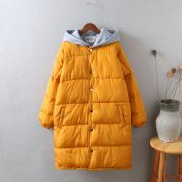 R7韩版羽绒女冬季外套棉袄 过膝面包服卫衣帽棉衣女中长款1.0