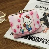 七夕礼物2018新款钱包女短款日韩版可爱漫画卡通多卡位零钱包钱夹子手拿包 Hello Kitty-玫红