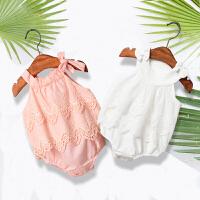 婴儿衣服女宝宝夏季吊带哈衣三角包屁衣薄款