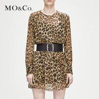 MOCO冬季新品个性豹纹真丝连衣裙MA184DRS106 摩安珂