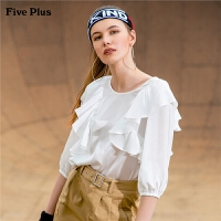 Five Plus女夏装荷叶边衬衫女宽松中袖衬衣套头拼接圆领纯色