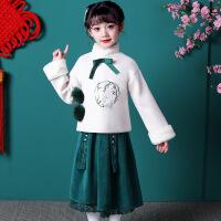 儿童旗袍女中式汉服秋冬季文艺中国风唐装外套裙子套装两件套