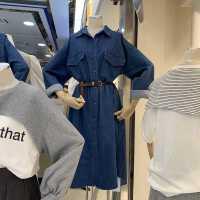 薄款洗水牛仔长袖Polo领单排扣2021新款韩国东大门衬衣长裙配腰带