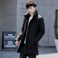 男士新款冬季中长款修身立领羽绒服青年保暖男潮加厚反季清仓外套 黑色