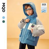 【2件3.5折后价:455】MQD男童羽绒服21冬新款儿童拼接工装连帽三防内里摇粒绒保暖外套