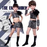 儿童演出服爵士舞蹈服装亮片拉丁舞服饰现代舞表演服男女