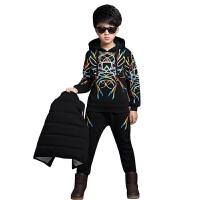 运动套装秋冬新款儿童长袖卫衣套头衫运动休闲加厚加绒外套马甲三件套