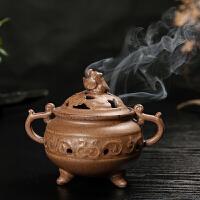 茶具配件 仿古古铜香炉香薰炉摆件线香插盘香线香双用父亲节送父亲送朋友