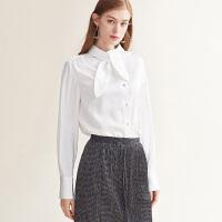 【2.5折价:125元】红袖/HOPESHOW飘带领单排扣白衬衫