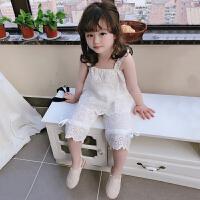 儿童夏季小清新套装 女童宝宝吊带镂空花边上衣+中裤两件套