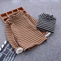 童装男童条纹打底衫冬装儿童保暖高领上衣中大童洋气长袖T恤